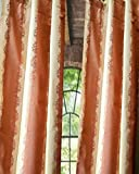 Pastel Red & Ivory striped pure silk floral window lined curtain panel drape (52″W X 120″L)