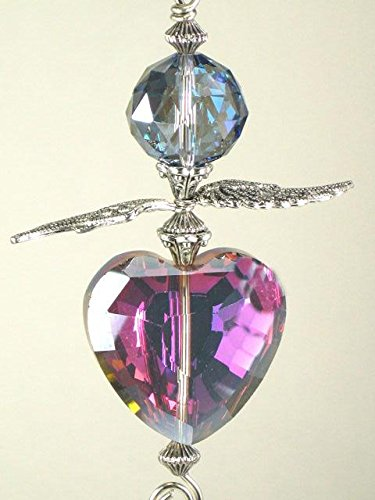 Large Iridescent Metallic Green and Purple Glass Heart with Silvery Angel Wings Ceiling Fan Pull Chain