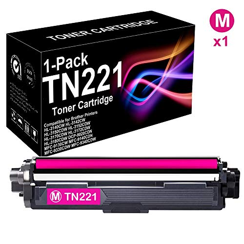 1 Pack Compatible High Yield MFC-9330CDW Printer Toner Cartridge (Magenta) Replacement for Brother TN221 TN-221 Toner Cartridge, Sold by BUADCK ()