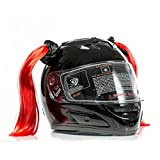 Stick On Motorcycle Helmet Pigtails Ponytails (Red)