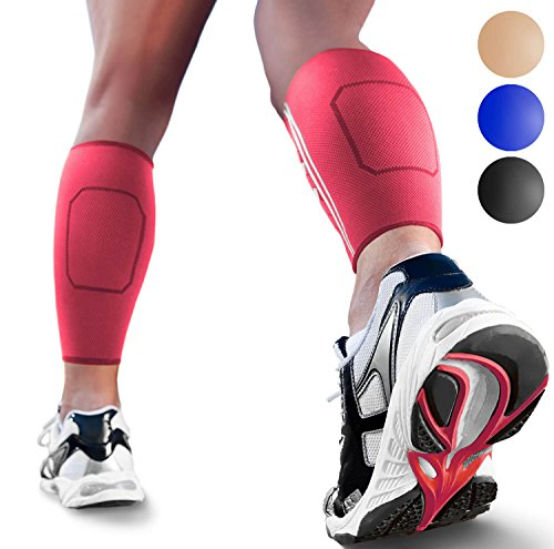 Calf Compression Sleeves by SPARTHOS (Pair) - Leg Compression Socks for Men and Women - Shin Splint Calf Pain Relief Air Travel Flight Nurses Maternity Basketball Football Soccer (Pink-M)