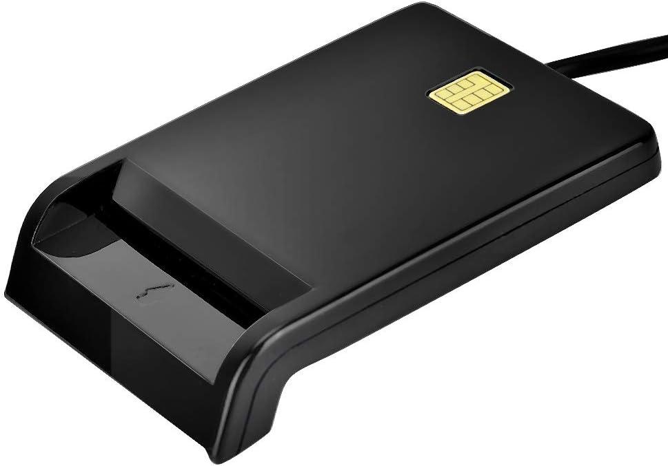 Jacksking Smart Card Reader ID Card Reader SIM//ATM//IC//ID Bank Card Smart Card Reader USB Adapter Black