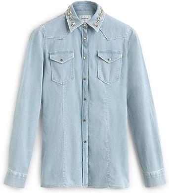 Dondup - Camisa vaquera de algodón vaquera claro 40: Amazon ...
