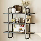 Cheap LITTLE TREE Industrial 3-Tier Pipe Wall Shelf, Double Support Wall Mount Pipe Shelf Storage Shelving Bookshelf, Wood and Metal