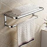 HiendureBrass Wall-mounted Towel Rack Hanger Holder Organizer Bar Bathroom Towel Shelf (23' Towel Shelf),Chrome
