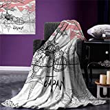 smallbeefly Asian Digital Printing Blanket Nostalgic Pagoda Multiple Eaves in Retro Style Religious Place Meditation Summer Quilt Comforter 80''x60'' Pink White Black