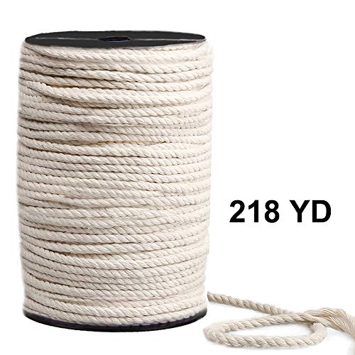 Macrame Cord 4mm x 218yd, 100% Natual Cotton Macrame Rope, 3 Strand Twisted Cotton Cord for Handmade Plant Hanger Wall Hanging Craft Making