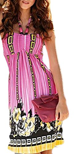 Mini Print Womens Halter Domple Dress Floral Pink Strapless Beach Summer 6H1x0qw