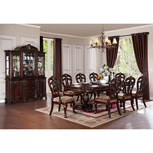 Dublin 7 Piece 86-114 inch Dining Set in Warm Cherry - Table, 2 Arm, 6 Chairs