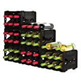 Black Storvino 36+ Bottle Wine Cube Rack Stackable Modular Storage Set of 6 Units