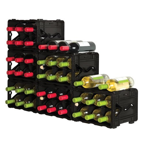 Black Storvino 36+ Bottle Wine Cube Rack Stackable Modular Storage Set of 6 Units - Wine Storage Container