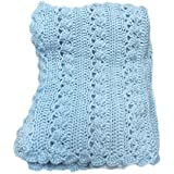 Baby Boy Blue Cable Look Crochet Blanket Handmade 36 x 40