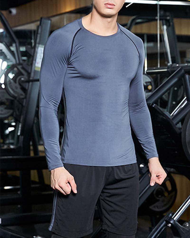Camiseta De Compresi/òn Camiseta T/érmica Interior Hombre Manga Larga para Running Fitness Entrenamiento