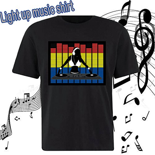 Flashingworld led music funny Light up the night in an Sound Activated Shirt! (M, DJ GIRL)