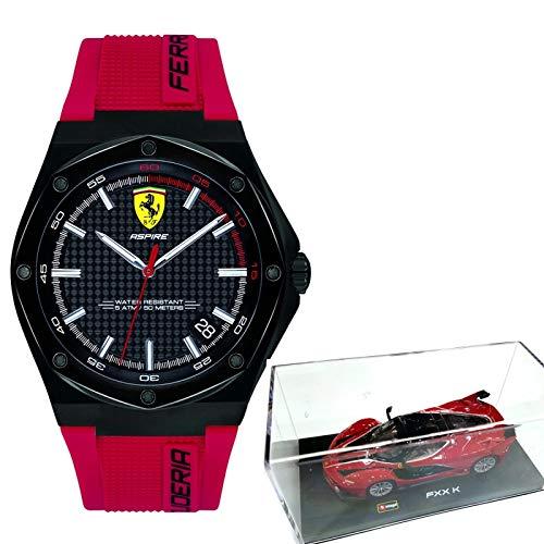Ferrari Aspire - Reloj de Cuarzo para Hombre, Acero Inoxidable y Silicona, Color Rojo