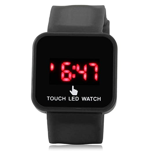 Amazon.com: Watch For Mens Stylish,Children Casual Square Shape LED Screen Buckle Closure Digital Watch Everything Else,Black: Clothing