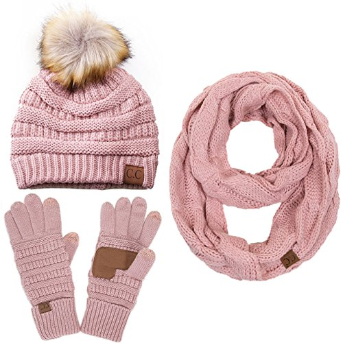 - ScarvesMe 3pc Set Trendy Warm Chunky Soft Stretch Cable Knit Pom Pom Beanie, Scarves and Gloves Set
