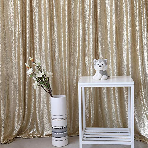 GFCC 4.2x6.5ft Champagne Sequin Backdrop Shimmer Photo Booth Background Sparkly Curtain Photography for Wedding -