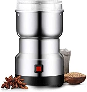 LRHD Electric Coffee Grinder, Stainless Steel Grain Nut Bean Spice Mixer Grinder, Suitable for Home Kitchen, Hotel, Restaurant, Front Desk Bar, Grinding Food Powder, Silver