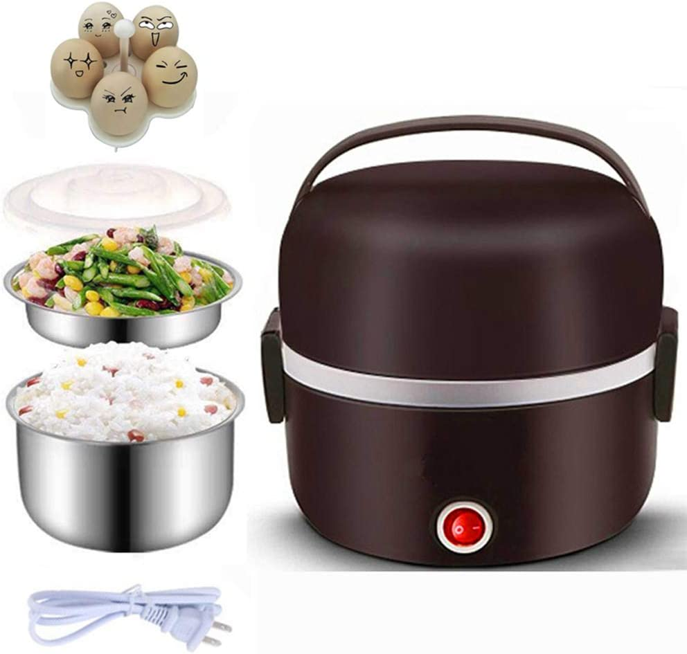 Electric Warmer Lunch Box Food Heater Portable Lunch Containers Warming Bento For Home Food Grade Material 2 Layers Steamer with Stainless Steel Bowls, Egg Steaming Rack, Cupring Cup