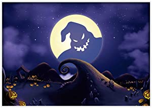 Allenjoy 7x5ft Halloween Pumpkin Jack Backdrop Nightmare Before Christmas Moonlight Children Photography Background Horrible Party Birthday Banner Baby Shower Family Home Decorations Photo Booth