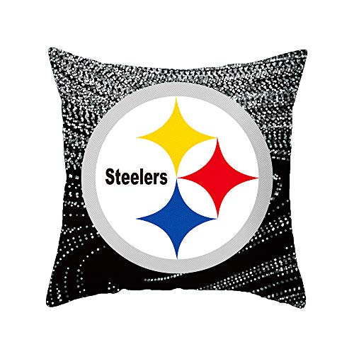 Nfl Decorative Pillow - Gloral HIF Pittsburgh Steelers Throw Pillow Covers Set Pack of 2 Cotton Linen Zippered Pillowcase for Car 18