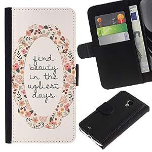 Be Good Phone Accessory // Caso del tirón Billetera de Cuero Titular de la tarjeta Carcasa Funda de Protección para Samsung Galaxy S4 Mini i9190 MINI VERSION! // find beauty motivational wreath flower