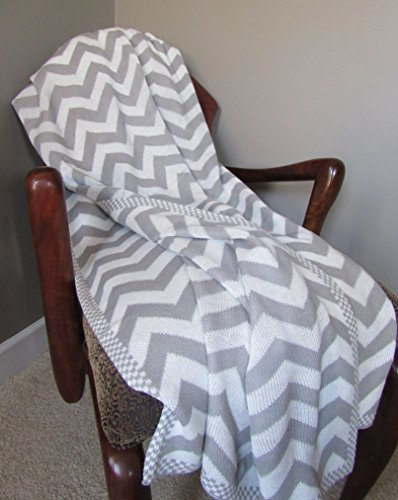 Gray Chevron Knitted Throw Blanket