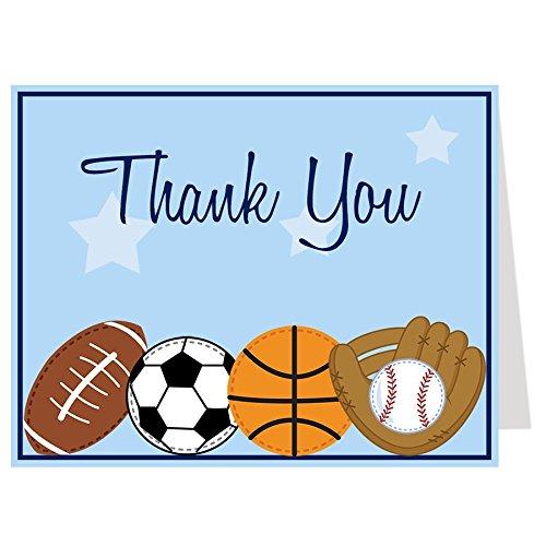 Sports Thank You Cards Baby Shower Birthday Boys Football Soccer Baseball Basketball Blue All Star MVP Kids (50 -