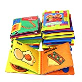 Coolplay Babys First Non-Toxic Soft Cloth Book Set- Crinkle,Colorful - (Friction with a rustling Sound) - Pack of 8