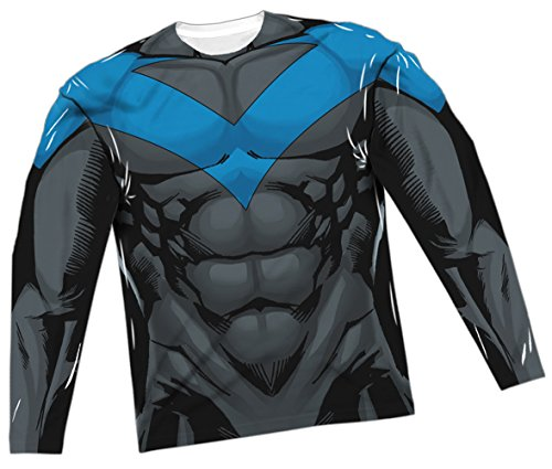 [Nightwing Blue Costume -- Batman All-Over Long-Sleeve T-Shirt, X-Large] (Nightwing Halloween Costumes)