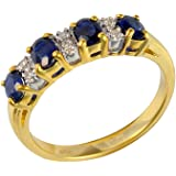 Ivy Gems 9ct Yellow Gold Sapphire and Diamond Half Eternity Ring