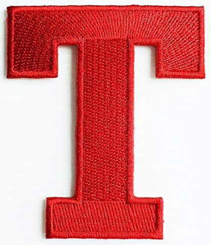 2.5x3 Inch Red Letter T Tiger Alphabet A-Z Old School ABC Song T English Character Patch Cartoon Children Kids Embroidered Applique Craft Handmade Baby Kid Girl Women Clothes DIY Costume Accessory.