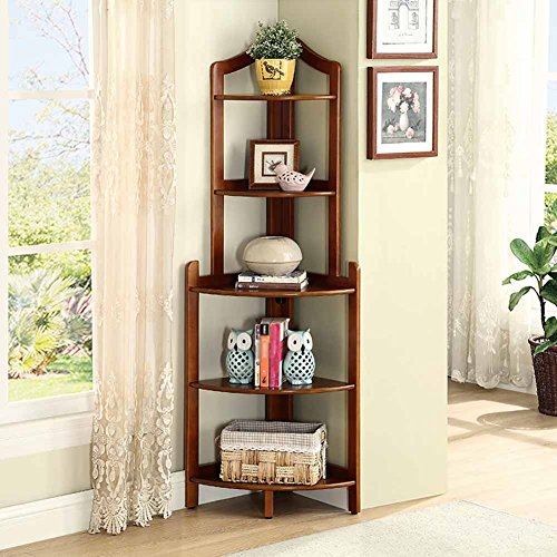 (Floor Standing 5 Tier Bookshelf Wooden Fan L-Shape Corner Shelf Triangular Flower Rack Living Room Bedroom Multi-layer Storage Finishing Display Stand (Color : Walnut color))