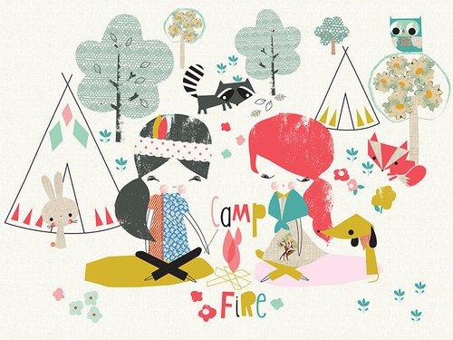 Oopsy Daisy Campfire Friends by Jillian Phillips Canvas Wall Art, 24 by 18-Inch