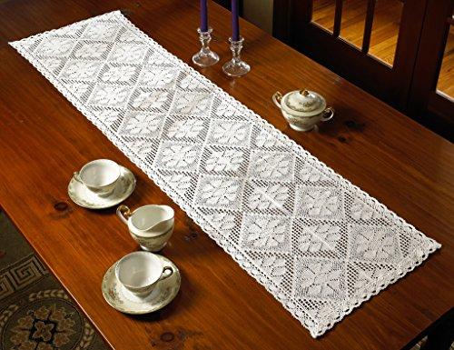 (Violet Linen Stars Crochet Vintage Design Table Runner, 14