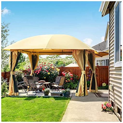Garden and Outdoor Quictent 12x12ft Outdoor Gazebo for Patios,Gazebo with Mosquito Netting and Curtains,Dome Soft Top Gazebo for Patios… pergolas