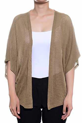 Dolman Sleeve Shrug - Women's Casual Dolman Short Sleeves Loose Knit Kimono Cardigan (S-3X) (C12713 Taupe, Small)