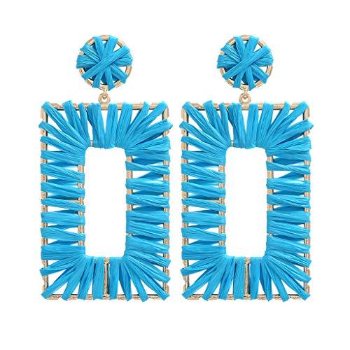 Gift Jewelry Earrings, Alonea Handmade Geometric Rectangular Earrings is Good Gift for Girlfriend and Mother (Sky Blue)