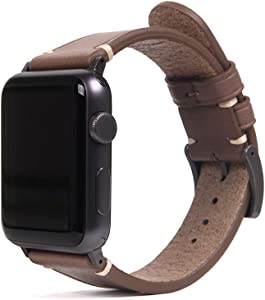 SLG Compatible with Apple Watch Band 42mm / 44mm, D7 Italian Buttero Leather Replacement Strap Feature Black Adapters with Gift Box, Handmade and Designed for iWatch SE & Series 6/5/4/3/2/1 (Beige)