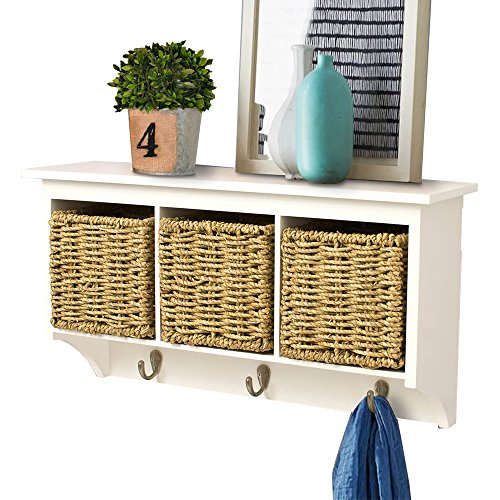 AHDECOR Entryway Hanging Cubby Shelf Coat Rack Storage Shelf with Seagrass Baskets, White