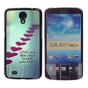 TECHCASE**Cubierta de la caja de protección la piel dura para el ** Samsung Galaxy Mega 6.3 I9200 SGH-i527 ** Love Steps Valentines Heart Line Metal