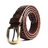 ECHAIN Men Braided Woven Genuine Leather Belt, Brown 2, Waist:34-36
