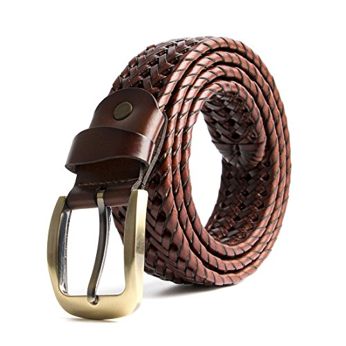 ECHAIN Men Braided Woven Genuine Leather Belt, Brown 2, Waist:37-39