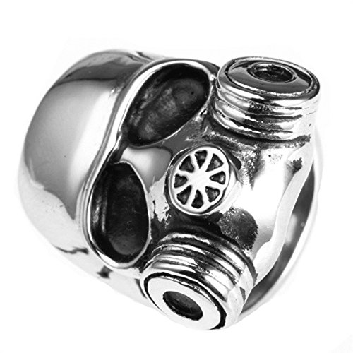 - MoAndy Men Stainless Steel Vintage Retro Silver Domineering Gas Mask Skull Ring 3CM Size 10