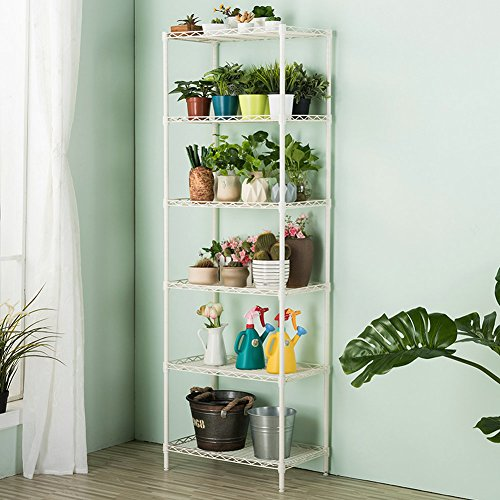 LANGRIA 6 Tier Stand Storage Rack, Kitchen Wire Shelving with Spice Rack Organizer, White (Shelf Interlocking Metal)