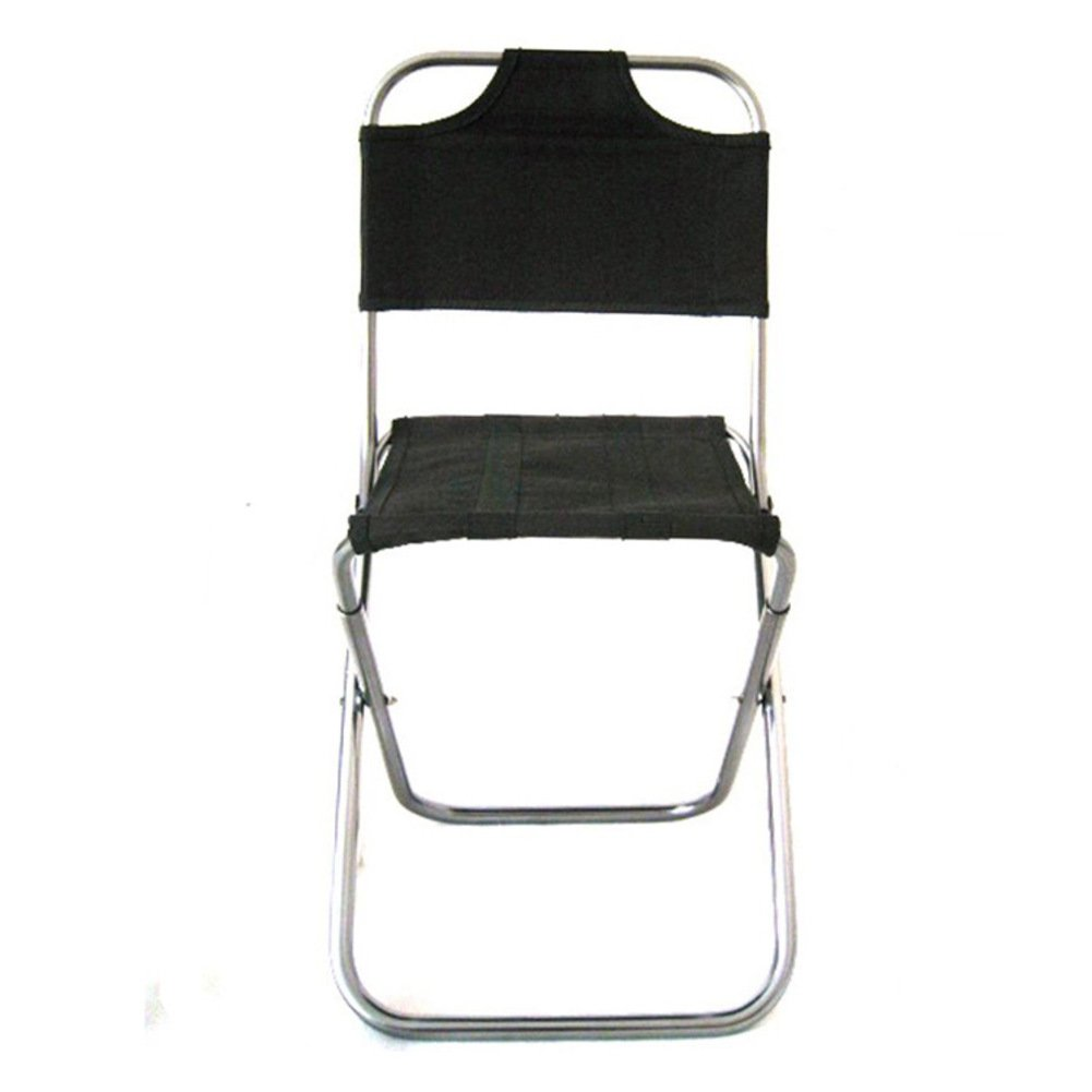 L&J Lightweight Camping Folding Chair, Outdoor Portable Aluminum Alloy Fishing Chair,Patio Garden Picnic Barbecue Painting Sketch, Load 110kg-Black
