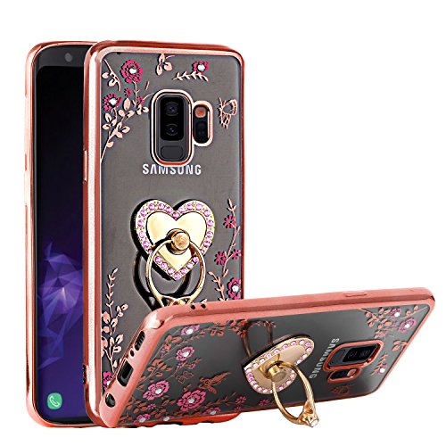 Galaxy S9 Plus Case, Glitter Crystal Heart Floral Series - Slim Luxury Bling Rhinestone Clear TPU Case with Ring Stand for Samsung Galaxy S9 Plus (2018 Release) - Rose Gold