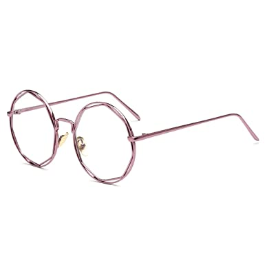 Sunbo Women Metal Round Clear Lens Retro Eyewear Glasses Frames Pink ...
