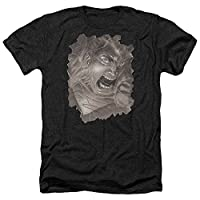 Trevco Men's Superman Short Sleeve T-Shirt, Cover Heather Black, Medium